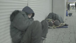A group of homeless in the underpass Footage