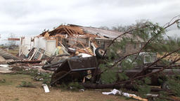 Tornado damage - house severely damaged Footage
