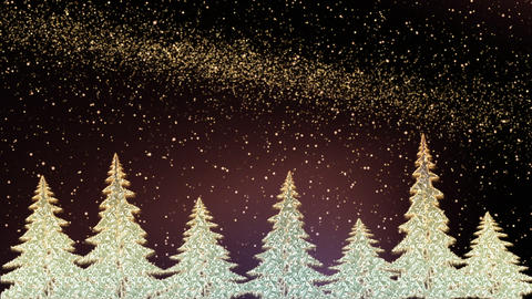 Sparkling Christmas trees shining in the snowy night Animation