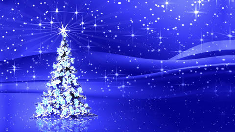 Sparkling decorated Christmas tree with star and rays of light Animation