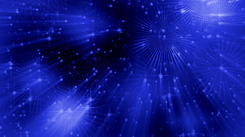 Festive blue abstract background with rays and dots of light, circular motion Animation