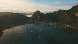 The beautiful bay with boats. Aerial view Footage