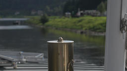 Close-up of a steam whistle on steamboat at the elbe river Germany Live Action