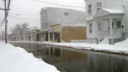 Blizzard and storm surge street flooding Footage