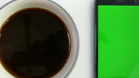 coffee green screen phone white dolly in Footage