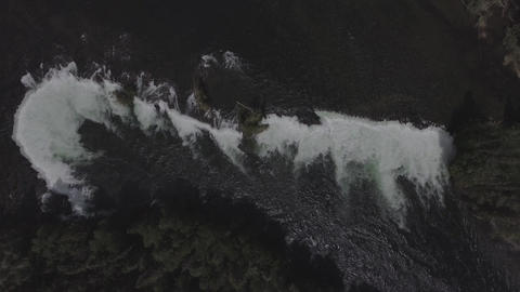 Top down aerial view of a waterfall Footage