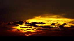 Mystical sunset and moving clouds - time lapse Footage