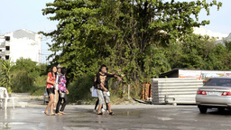 Songkran Water Fight a Truck Load of People Stock Video Footage