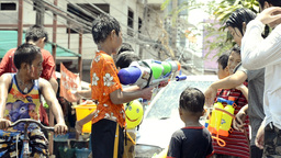 Boy With Water Pistol In Songkran Water Fight Footage