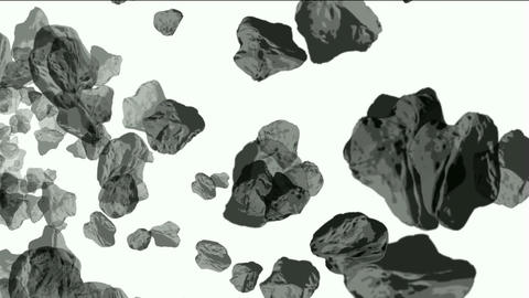 Meteorite tumbling and 3d rolling stone in space Animation
