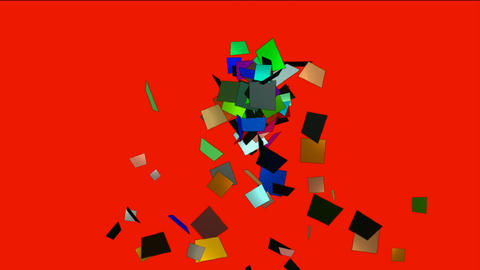 falling paper card debris,explosion scrap Animation
