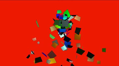 falling paper card debris,explosion scrap Animation