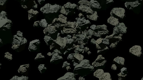 3d rolling stone and meteorite tumbling in space Stock Video Footage