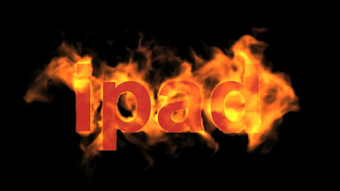 flame ipad word,fire text Animation