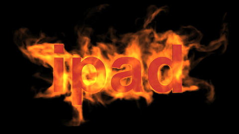 flame ipad word,fire text Stock Video Footage
