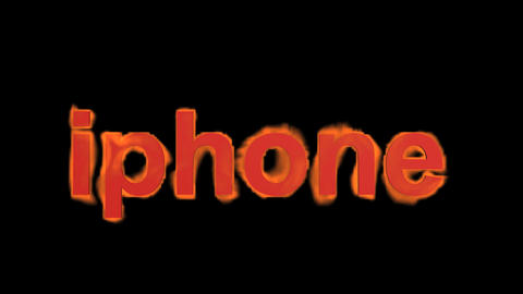 flame iphone word,fire text Stock Video Footage