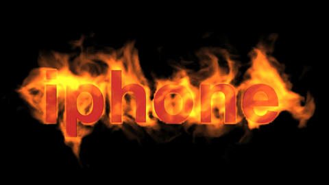 flame iphone word,fire text Animation