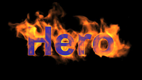 flame hero word,fire text Stock Video Footage