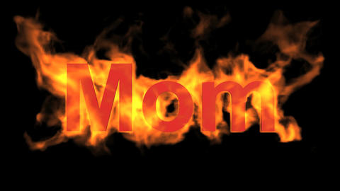 flame red mom word,fire text Stock Video Footage