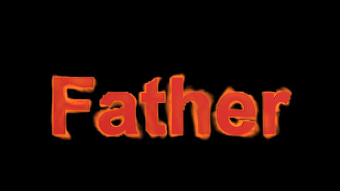 flame red father word,fire text Stock Video Footage