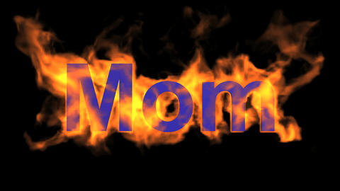 flame purple mom word,fire text Stock Video Footage