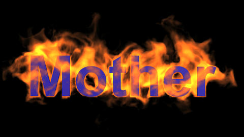 flame blue mother word,fire text Animation