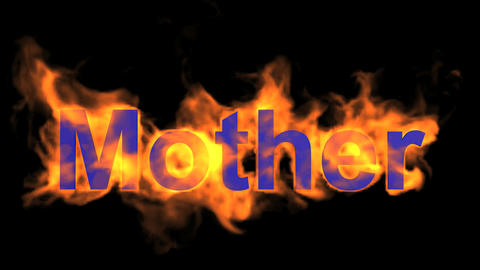 flame blue mother word,fire text Stock Video Footage