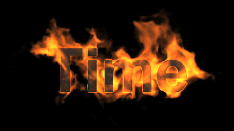 flame time word,fire text Animation