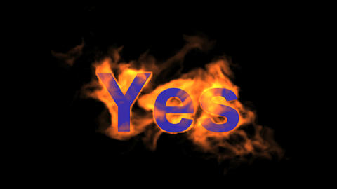 flame blue yes word,fire text Stock Video Footage