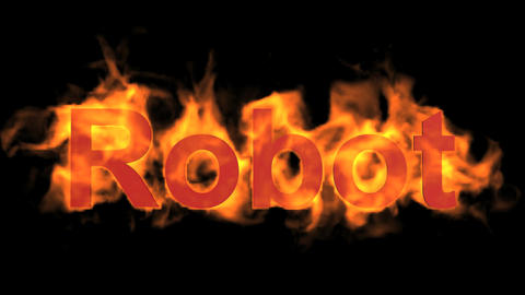 flame red robot word,fire text Animation