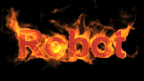 flame red robot word,fire text Stock Video Footage