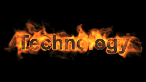 flame technology word,fire text Stock Video Footage