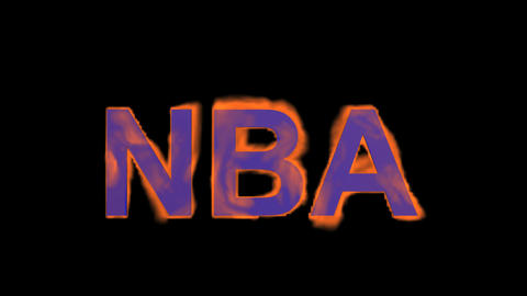 flame blue NBA word,fire text Stock Video Footage