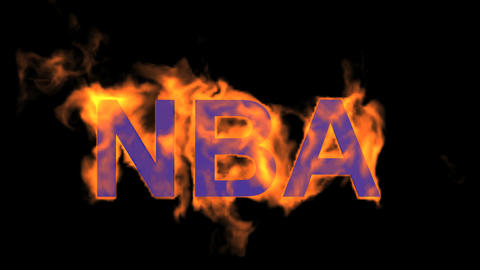 flame blue NBA word,fire text Animation