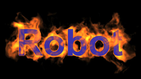 flame blue robot word,fire text Stock Video Footage