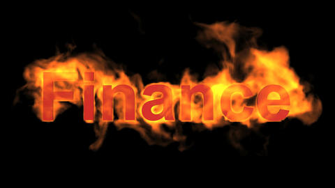 flame finance word Animation