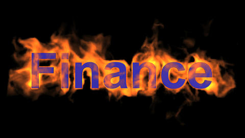 flame finance word,fire text Stock Video Footage