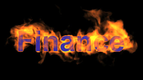 flame finance word,fire text Animation