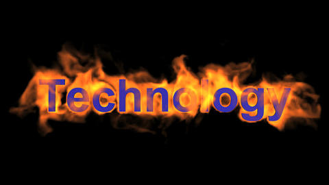 flame blue technology word,fire text Stock Video Footage
