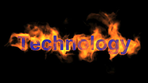 flame blue technology word,fire text Animation