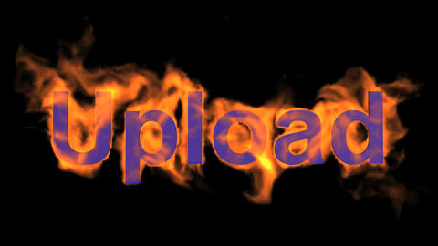 flame blue upload word Animation