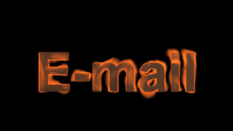 flame E-mail word,fire text Stock Video Footage