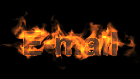 flame E-mail word,fire text Animation