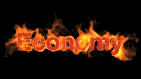flame economy word,fire text Stock Video Footage