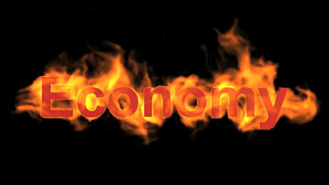 flame economy word,fire text Animation