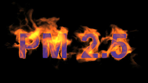 flame blue PM2.5 word,fire text Animation
