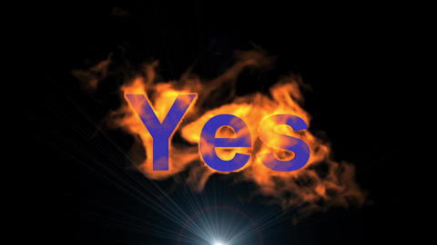 flame yes word & shine rays light,fire text Stock Video Footage