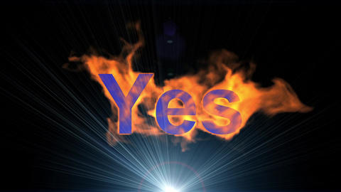 flame yes word & shine rays light,fire text Animation