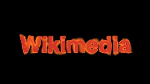 flame wikimedia word,fire text Stock Video Footage