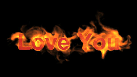 fire love you,flame text Animation